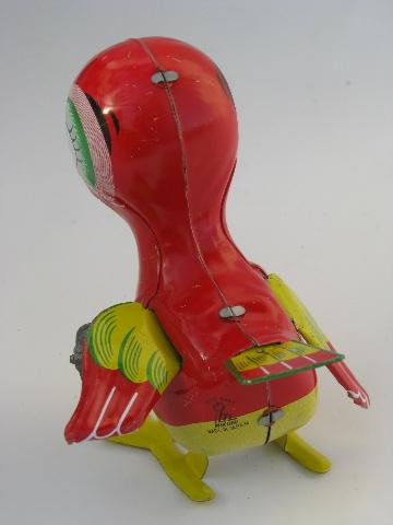 vintage Mikuni - Japan red baby bird tin litho print wind-up toy