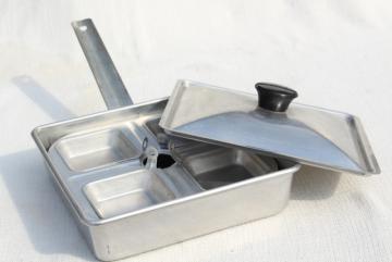 vintage Mirro aluminum egg poacher, square pan stovetop egg cooker