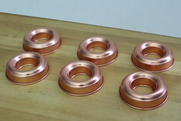 vintage Mirro copper colored aluminum ring molds, individual jello molds set