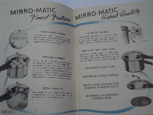 vintage Mirro-Matic pressure cooker user's guide, cookbook and instructions