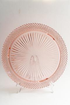 vintage Miss America pink depression glass cake plate, 1930s Anchor Hocking glassware