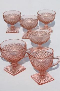 vintage Miss America pink depression glass dessert dishes set, sherbets & cream and sugar