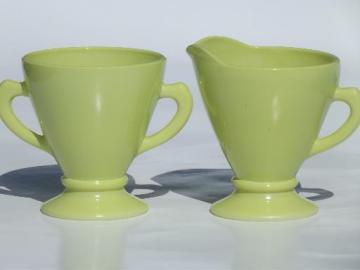 vintage Moderntone cream & sugar set, retro pastel yellow platonite glass