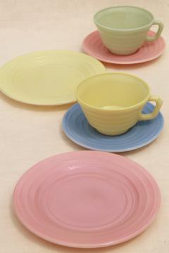 vintage Moderntone pastels trios, tea cups & saucers, plates in pink, green, blue, yellow platonite