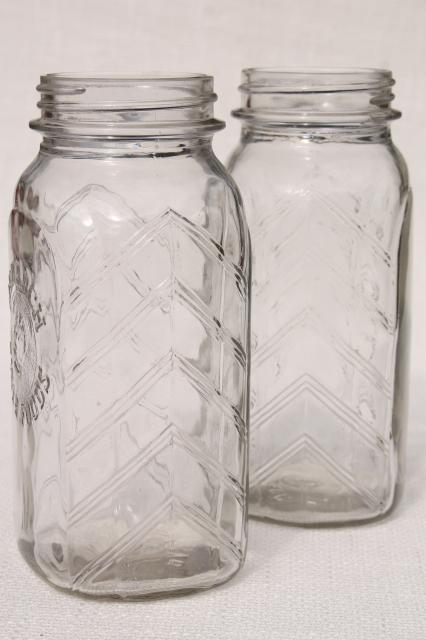 vintage Monarch quart glass jars, hoosier style flat front pantry kitchen canisters