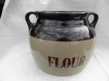 vintage Monmouth - Western pottery, old stoneware crock jar lettered Flour