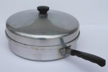 vintage Montgomery Ward Waterless cookware, 2 qt skillet chicken fryer frying pan w/ lid