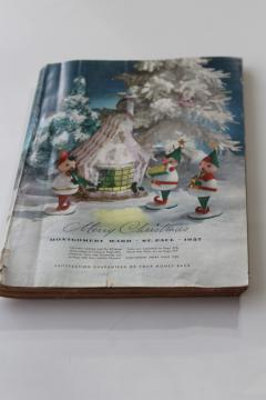 vintage Montgomery Wards Christmas 1957 wish book catalog, tons of toys, retro fashion & decor