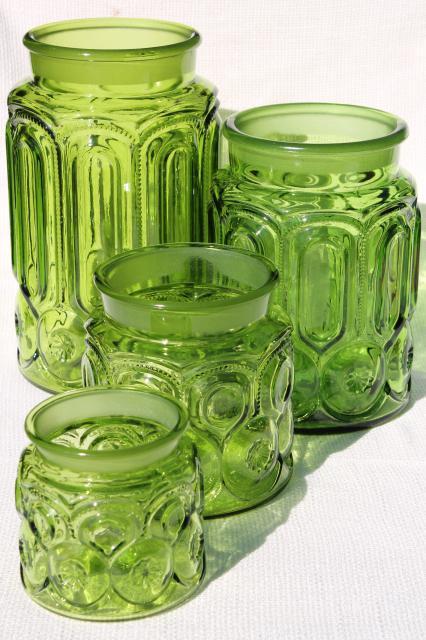 Delightful Vintage Moon U0026 Stars Green Glass Canister Jars, Flour, Sugar, Coffee, Tea  Canisters