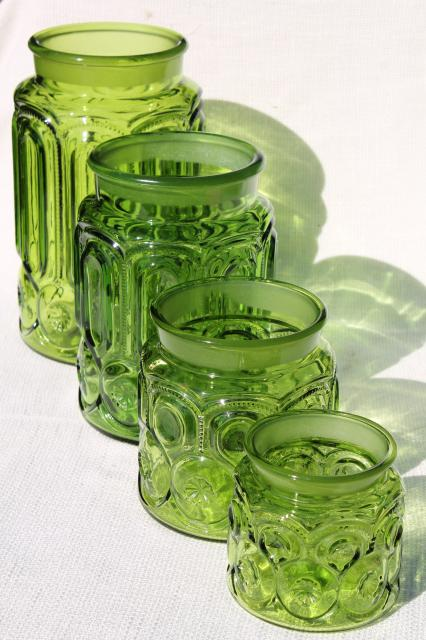 vintage Moon & Stars green glass canister jars, flour, sugar, coffee, tea canisters