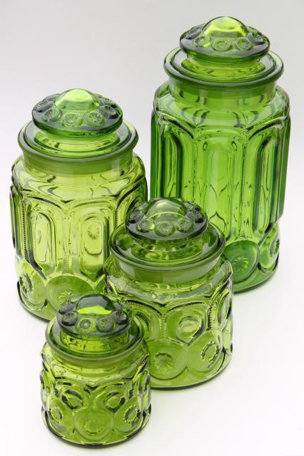 Vintage Moon U0026 Stars Green Glass Canister Set, Flour, Sugar, Coffee, Tea  Canisters