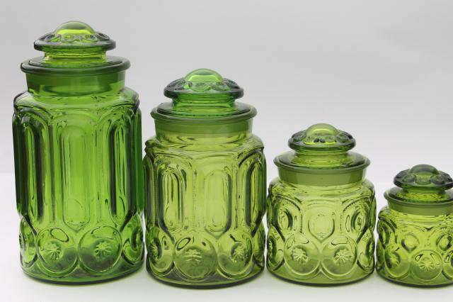 Vintage Moon Amp Stars Green Glass Canister Set Flour