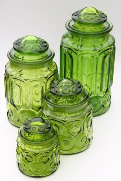 vintage Moon & Stars green glass canister set, flour, sugar, coffee, tea canisters