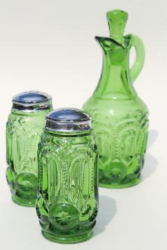 vintage Moon & Stars pattern glass salt and pepper shakers, green glass cruet