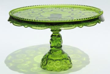 vintage Moon & Stars pattern green glass cake stand, dessert pedestal plate