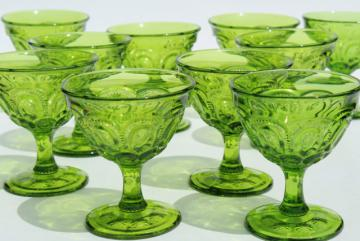 vintage Moon & Stars pattern green glass coupe champagne glasses or sherbet dishes