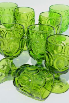 vintage Moon & Stars pattern green glass water glasses or large wine goblets, set of 8