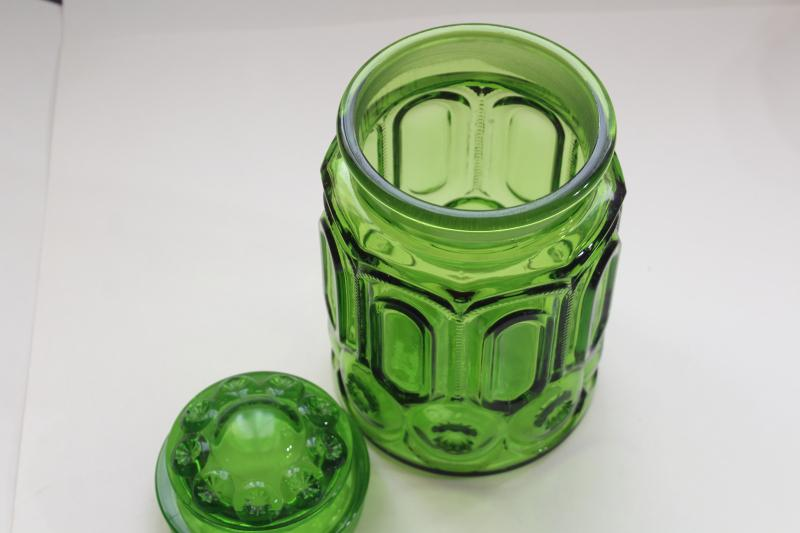 vintage Moon and Stars pattern green glass canister, good replacement jar w/ chipped lid