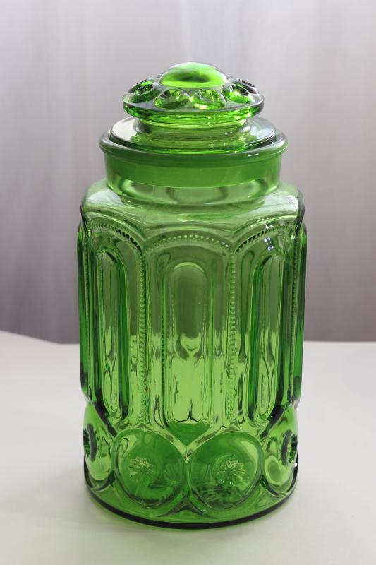 vintage Moon and Stars pattern green glass cookie jar or flour canister w/ lid