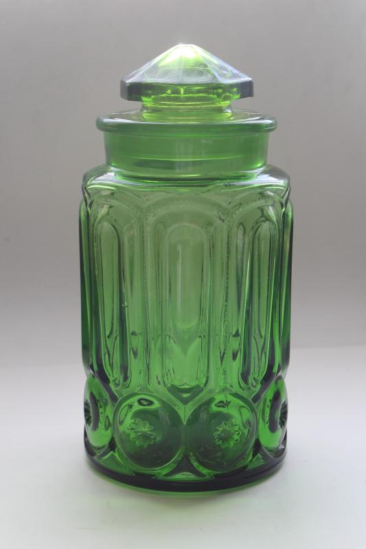 vintage Moon and Stars pattern green glass cookie jar or large canister w/ lid