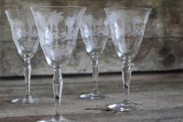 vintage Morgantown Mayfair etched elegant glass goblets, large water or wine glasses