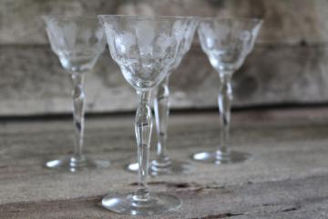 vintage Morgantown Mayfair etched elegant glass stemware, wine glasses or cocktails