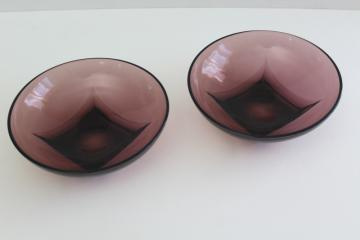 vintage Moroccan amethyst glass, Hazel Atlas Colony square bottom round bowls