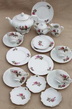 vintage Moss Rose china made in Japan porcelain tea set w/ teapot & dishes