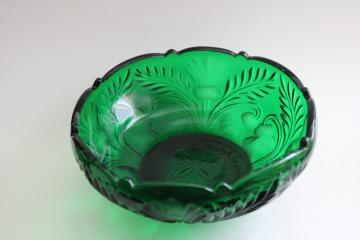vintage Mosser inverted thistle pattern glass, large bowl dark emerald green glass