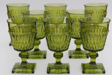 vintage Mt Vernon Indiana glass wine glasses water goblets, avocado green Mount Vernon
