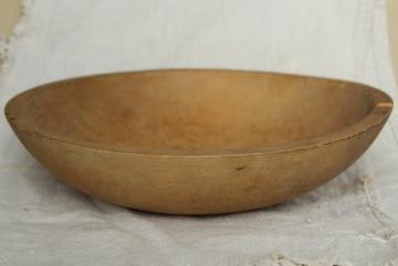 vintage Munising big wood salad bowl, primitive old rustic wooden dough bowl