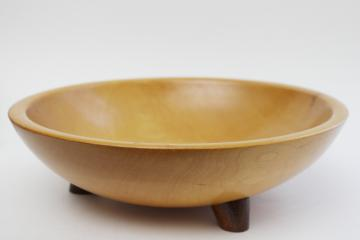 vintage Munising wood bowl, large wooden salad bowl w/ three footed shape