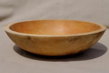 vintage Munising wood bowl, primitive old wooden bowl w/ oiled finish