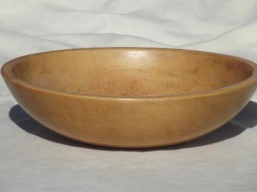 vintage Munising wood bowl, primitive old wooden bowl w/ waxed finish