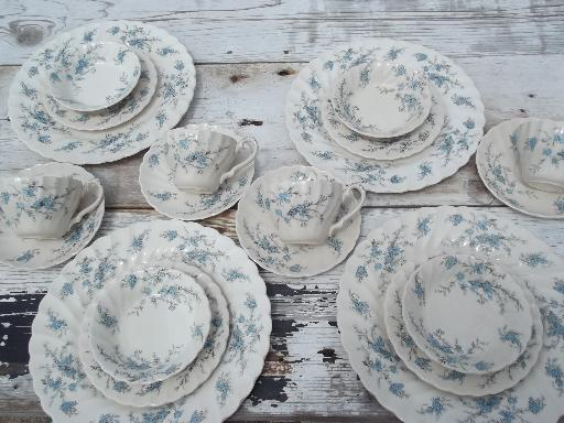 & vintage Myott forget-me-not Staffordshire china set bowls plates cups