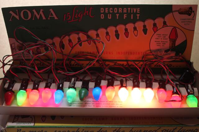 vintage noma christmas lights in original boxes a tree full of working lights
