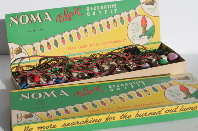 vintage NOMA Christmas lights in original boxes, a tree full of ...