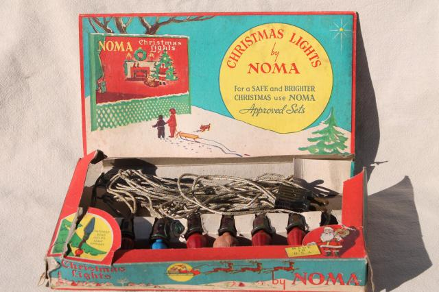 vintage noma christmas tree lights light string w bulbs in original box