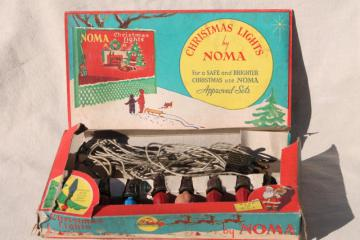 vintage NOMA Christmas tree lights, light string w/ bulbs in original box