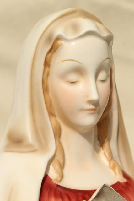 vintage Napco Japan Madonna, ceramic lady head vase, Mary w/ veil & book