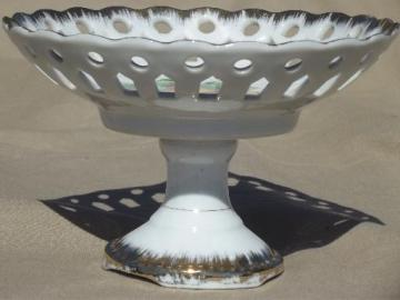 vintage Napco - Japan china compote, painted fruit bowl w/ pierced lace