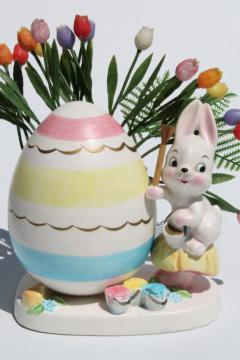 vintage Napco hand-painted china planter, Easter egg & bunny rabbit holiday vase