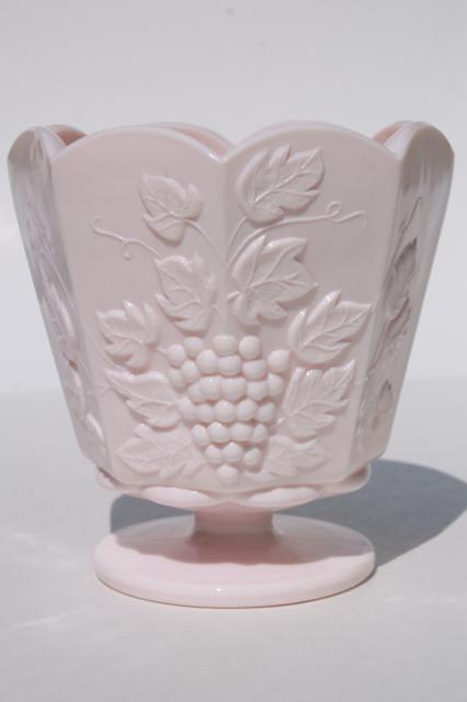 Vintage Napco Label Shell Pink Milk Glass Paneled Grape