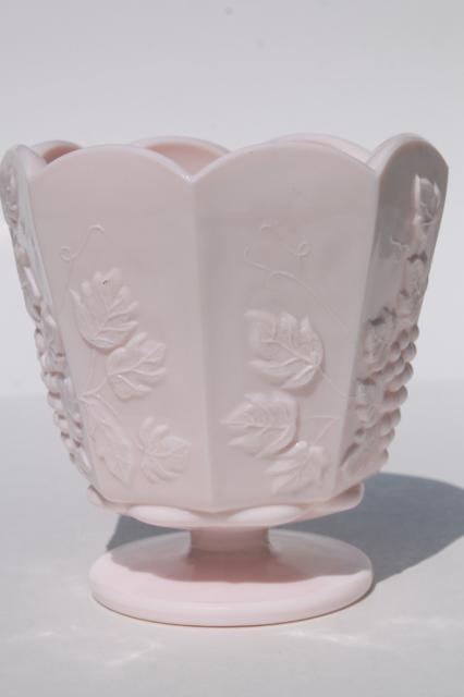 vintage Napco label shell pink milk glass paneled grape planter pot vase