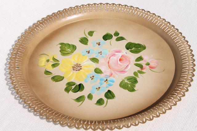 vintage Nashco hand painted tole metal serving trays, lacy edge round charger plates