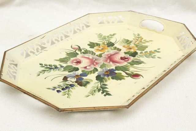 vintage Nashco serving tray, shabby chic lace edge pierced tole tin metal tray