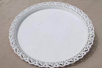 vintage Nashco serving tray, shabby chic lace edge pierced tole tin metal tray