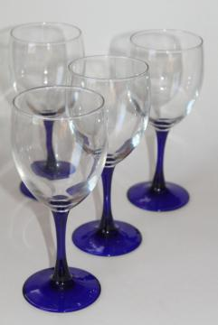 vintage Neptune Cristal d'Arques wine glasses, sapphire cobalt blue stem crystal goblets