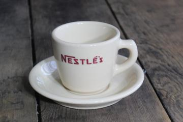 vintage Nestle's cocoa mug, adobe tan British restaurant china cup & saucer w/ Scottish Sterling mark