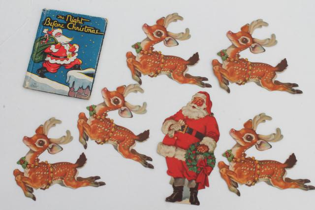 vintage night before christmas story picture book santa reindeer die cut paper decorations